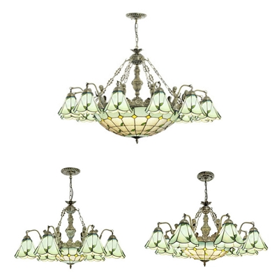 Gl Cone Dome Chandelier Dining Room 7 9 13 Lights Country Style