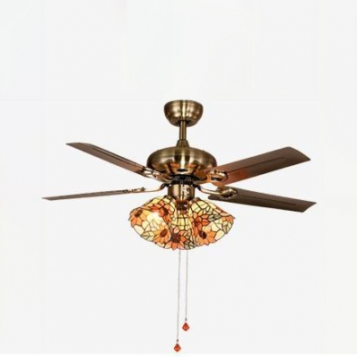 Glass Floral Semi Ceiling Mount Light 3 Heads Rustic Pull Chain/Remote Control/Wall Control Ceiling Fan for Bedroom