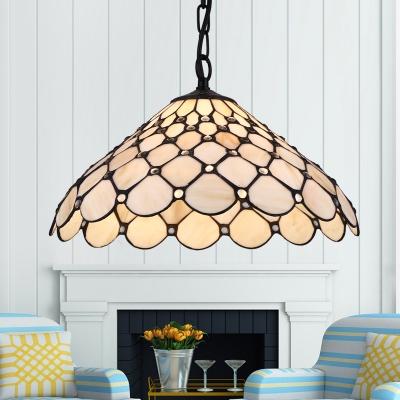 Glass Scalloped Pendant Light Restaurant 1 Light Tiffany Style Hanging Lamp in Beige