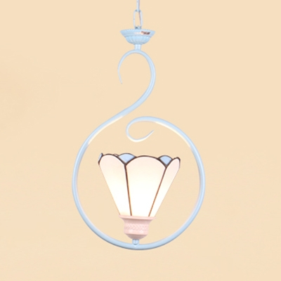 Glass Shade Pendant Light 1 Light Tiffany Style Contemporary Ceiling Light for Bedroom