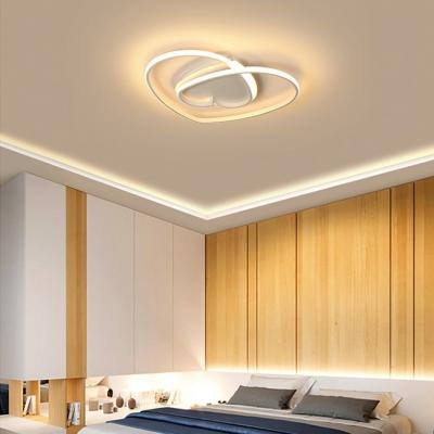 Heart Living Room Ceiling Light Metal Art Deco Gold/Pink/White Flush Light in Warm/White