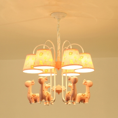 Lovely Blue/Pink Chandelier Tapered Shade 6 Lights Metal Pendant Light with Giraffe for Kid Bedroom