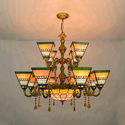 Stained Gl Craftsman Chandelier 13 Lights Tiffany Style Hanging