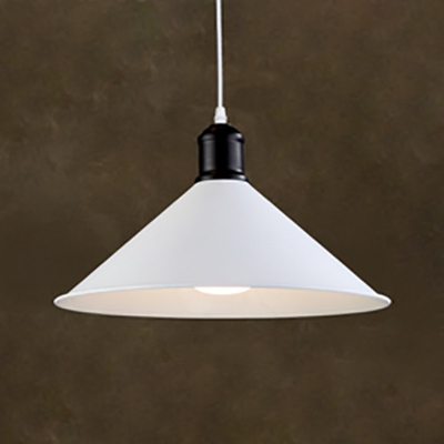 Antique Stylish Cone Shade Pendant Light 1 Head Metal White Finish Suspension Light for Kitchen, HL536820
