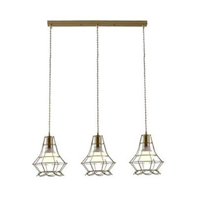 Metal Wire Frame Pendant Light 3 Heads Industrial Antique Hanging Light in Gold for Cafe