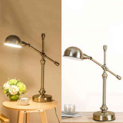 Metal Bowl Shade Rotatable Desk Light 1 Head Antique Style Reading Light in Aged Brass for Bedroom