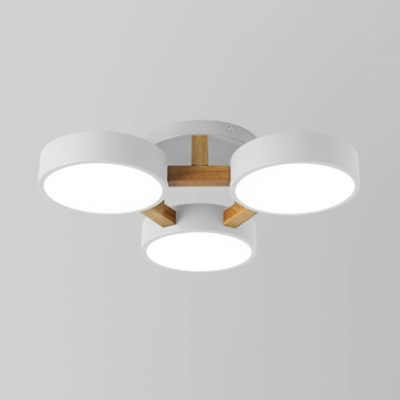 Metal Round Semi Flush Ceiling Light Kids Bedroom 3 Heads Nordic Style Candy Colored Light Fixture in White/Warm