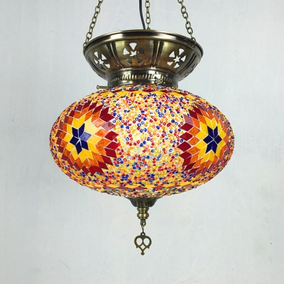 Moroccan Mosaic Lantern Pendant Light 1/6 Pack 1 Light Stained Glass Hanging Lamp for Balcony(not Specified We will be Random Shipments)