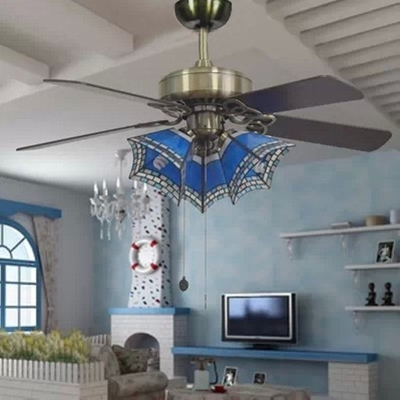 Nautical Style Craftsman Ceiling Fan Stained Glass 36/42 Inch 3 Lights Semi Flush Ceiling Lamp for Living Room