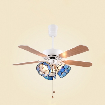 Nautical Stylish Blue Led Ceiling Fan With Pull Chain 3 Lights Metal