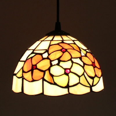 Rustic Floral Theme Pendant Lamp Stained Glass 1 Light 8 Inch Hanging Light for Dining Room