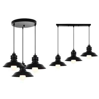 Simple Style Barn Shade Hanging Lamp 3 Lights Metal Ceiling Light in Black for Restaurant, HL526949