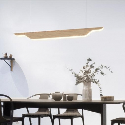 Simple Style LED Ceiling Light Eye-Caring Linear Suspension Light in Beige/Black/White for Library