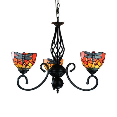 Stained Glass Dragonfly Chandelier 3 Lights Tiffany Style Rustic Ceiling Lamp for Balcony Foyer