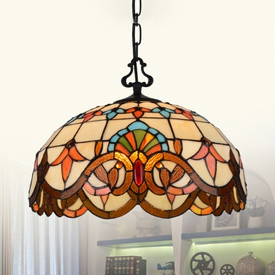Tiffany Rustic Suspension Light Dome Shade Stained Glass 1 Light Flowers/Victorian Ceiling Light for Foyer