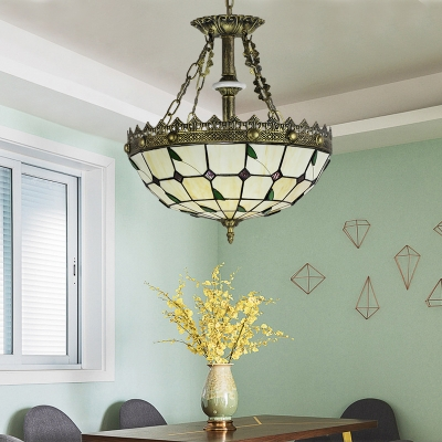 Tiffany Style Rustic Chandelier with Leaf Glass Engraved Hanging Lamp in Beige for Hotel Hallway