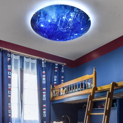 Universe Child Bedroom Flush Ceiling Light Glass Beautiful LED Blue Ceiling Lamp in Warm/White