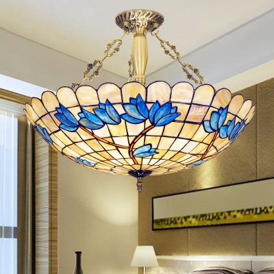 Vintage Style Beige Chandelier Dome Shade Stained Glass Hanging Light with Flower for Bedroom