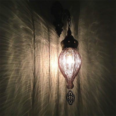 Vintage Style Teardrop Wall Light 1 Head Fluted Glass Sconce Light in Black/White for Hallway