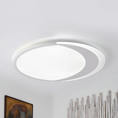 White Crescent LED Ceiling Light Cartoon Acrylic Third Gear/Warm/White Flush Mount Light for Study Room