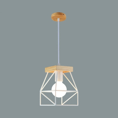 1 Light Cage Pendant Light Macaron Loft Metal Ceiling Lamp for Restaurant Dining Room