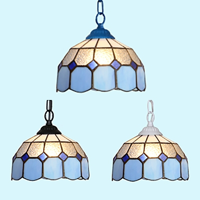 1 Light Lattice Pendant Lamp Tiffany Style Metal Ceiling Light in Black/Blue/White for Foyer