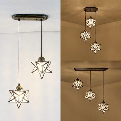 2/3 Heads Star Pendant Light Tiffany Style Glass Hanging Light in White for Hallway Balcony
