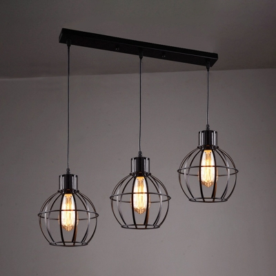 3 Heads Globe Cage Pendant Light Industrial Metal Hanging Light in Black for Restaurant Bar
