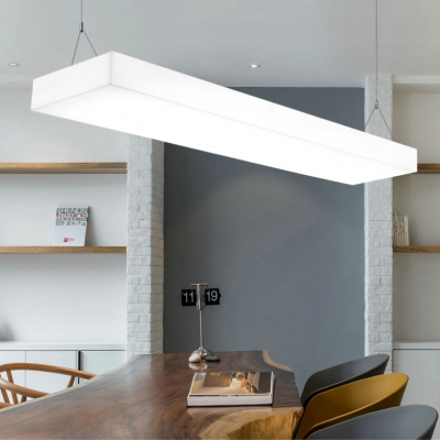 35.5/47 Inch Square LED Pendant Lamp White Acrylic Long Life Hanging Light for Gym Restaurant