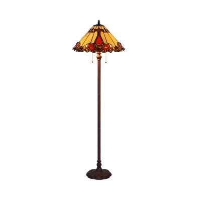 Dining Room Cone Shade Floor Lamp with Pull Chain Stained Glass 2 Heads Tiffany Vintage Floor Light