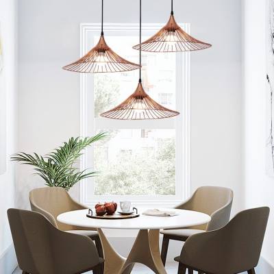 Industrial Ancient Hat Pendant Light Iron 1 Light Rose Gold Suspension Light for Coffee Shop