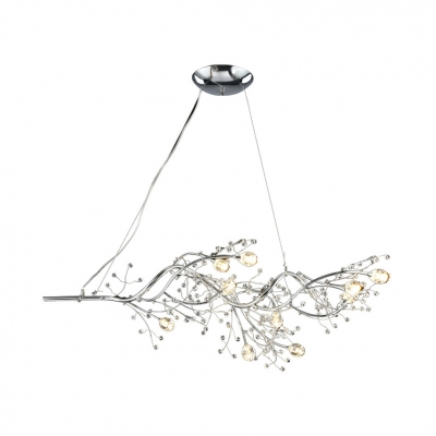 Black/Gold/Silver Branch Chandelier 10 Light Romantic Metal Hanging Light for Restaurant Bedroom