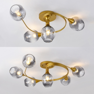 Modern Style Twist Arm Semi Flush Light Smoke Glass 4/6 Heads Gold Ceiling Light for Restaurant