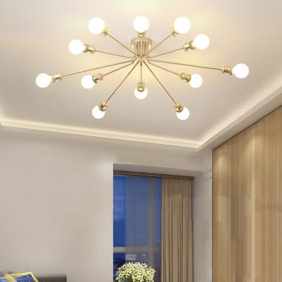Snowflake Living Room Ceiling Light Metal 10/12 Lights Elegant Style Semi Flush Mount Light in Coffee/Gold