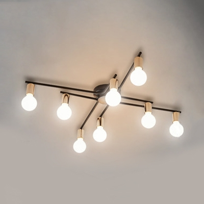 Metal Open Bulb Ceiling Lamp 6/8/10 Lights Contemporary LED Semi Flush Mount Light in Black for Restaurant