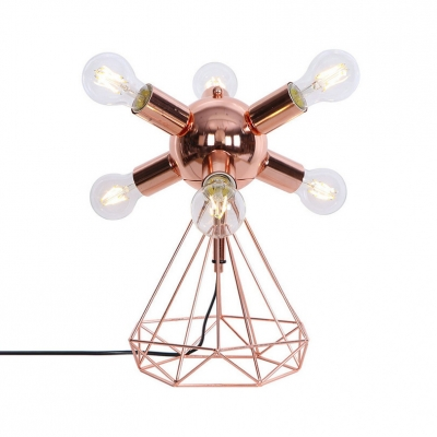 6/9 Lights Orb Desk Light with Diamond Body Rustic Style Metal Table Lamp in Rose Gold for Bedroom