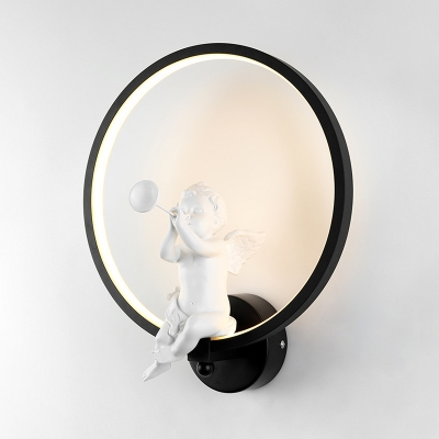 Acrylic Round Wall Light European Style Angel Decoration Sconce Light in White/Warm/Third Gear for Bedroom