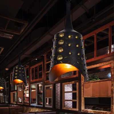 Antique Style Black Hanging Light Ancient China Bell 1 Light Metal Ceiling Light for Bar KTV