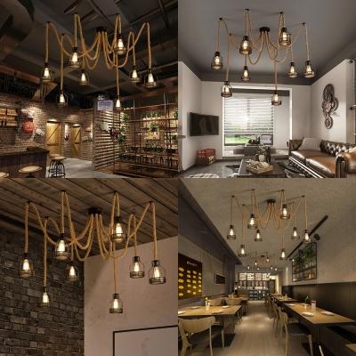 Antique Stylish Beige Pendant Light Spider Shape 8 Lights Manila Rope Hanging Light for Restaurant