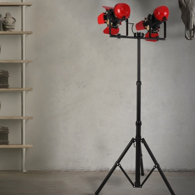 Black Camera Shape Floor Lamp 2 Heads Industrial Metal Floor Lamp for Living Room Bedroom