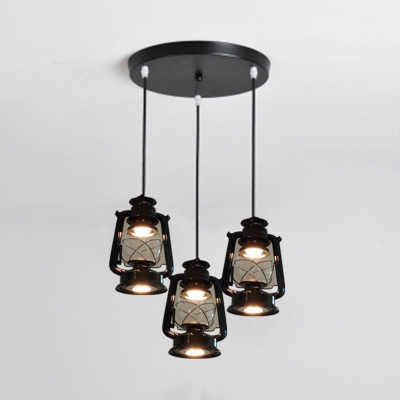 Black Kerosene Lamp Pendant Lighting 3 Lights Industrial Metal Hanging Light for Restaurant