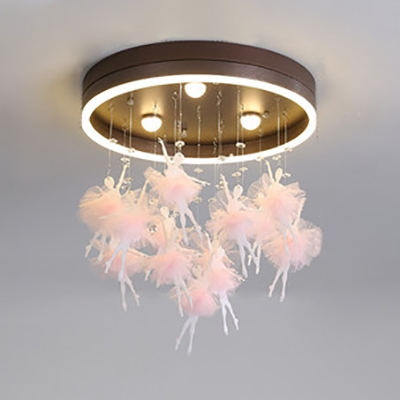 Black/Pink Fairy LED Flush Light Third Gear Romantic Acrylic Ceiling Fixture for Child Bedroom