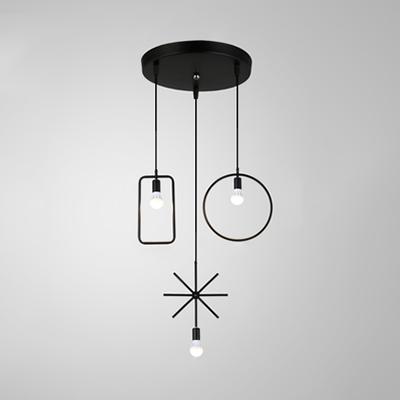 Black Wire Frame Ceiling Lamp 3 Lights