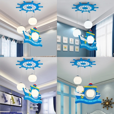 Blue Ship Pendant Light 3 Lights Cute Wood Suspension Light for Child Bedroom Kindergarten