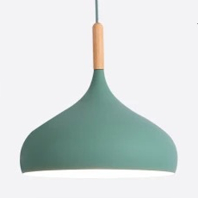 Candy Colored Onion Pendant Light 1 Light Modern Aluminum Ceiling Light with Adjustable Cord for Cafe