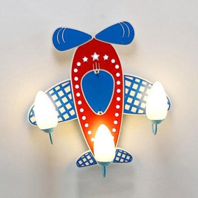 Cartoon Airplane Bedroom Semi Flush Ceiling Light Wood 3/5 Lights Lovely Ceiling Fixture with White Lighting