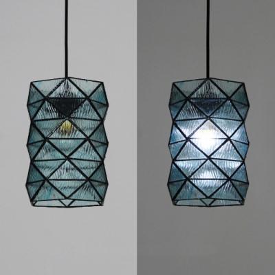 Foyer Cylinder Shade Hanging Lamp Glass Panel Single Light Antique Style Pendant Light