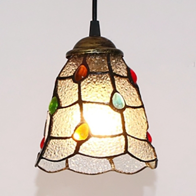 Frosted Glass Bell Ceiling Pendant Shop Modern Style Hanging Light with Colorful Beads