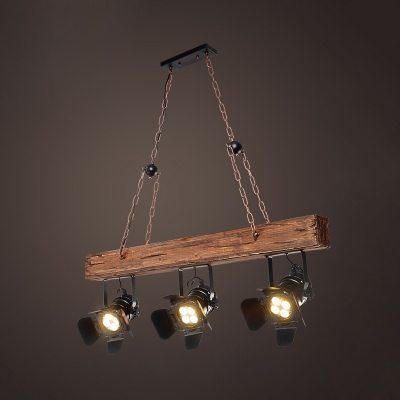 Industrial Angle Adjustable Island Lamp Wood 3 Heads Black Spot Light for Shop Restaurant