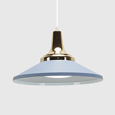 Kitchen Saucer Shade Pendant Lamp Metal 1 Light Nordic Style Macaron Colored Hanging Lamp